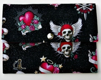 iPad Mini, Kindle, Nook, Kobo, Sony Reader, Samsung Galaxy, Small eReader Padded Case (READY TO SHIP) - Skulls