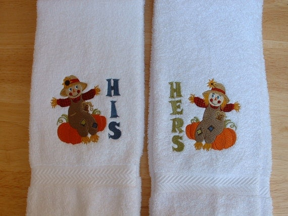 Embroidered His & Hers Towels, Set of 2