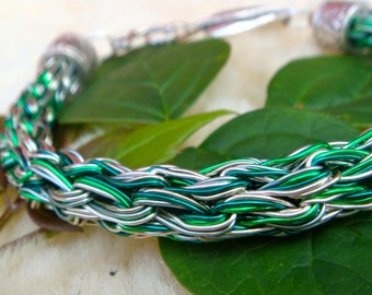 Green Goddess Five Strand Viking Knit Bracelet with leaf clasp Made in Scotland