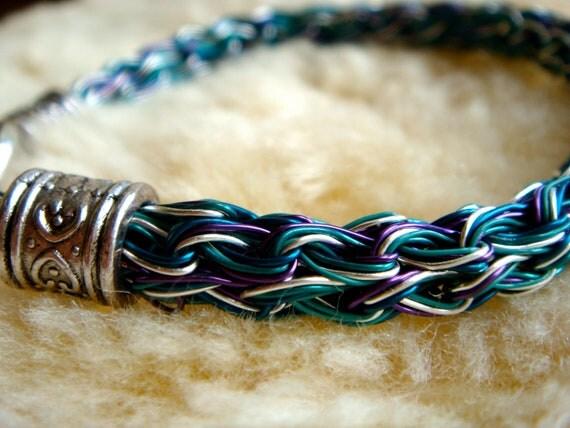 Peacock Blue Purple Viking Knit 5 strand Bracelet Made in Scotland