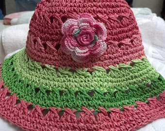 Girls Baby Toddler Straw Hat Sunhat - Handmade Irish Rose - Pink with green accent -  Size 0-12 Months