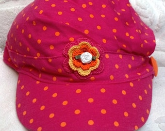 Girls Toddler Teen Hot Pink Polka Dot  Hat Cap Sunhat - Handmade Irish Rose -  Sizes 4-6, 7-8,  10-14 Years