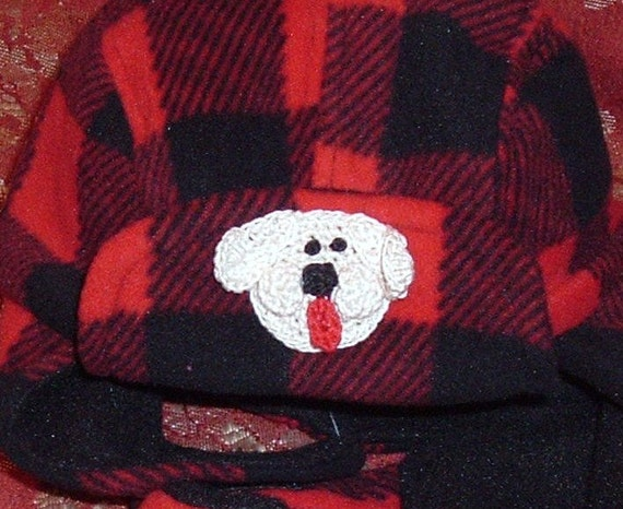 Baby Infant Toddler Hunter Fleece Hat and Mitten Set - Handmade Puppy or Bear Face - Red & Black Plaid- Sizes 0-12, 12-24 months
