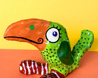 Pájaro Verde- Green Bird Mexican Inspired Clay Sculpture