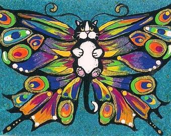 ACEO Darling cute Chubby Tuxedo Catterfly Butterfly Cat Kitten Fairy Fantasy Art MINI PRINT of original by K.McCants