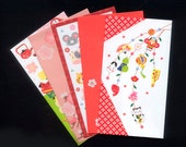 5 Cute, Different Japanese Envelopes  - Visual Journals, Altered Books, ATC, Collage