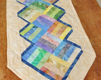 Pastel batik table runner
