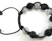HandMade - Shamballa Bracelet - 12MM - Beads - Macrame Knotting - Black - Unisex