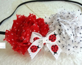 Petite Shabby  Ladybug Headband, Baby Girls headband, Baby Girl Lady Bug Headband, Baby Girl Ladybug, red headband, Lady bug bow, Ladybug