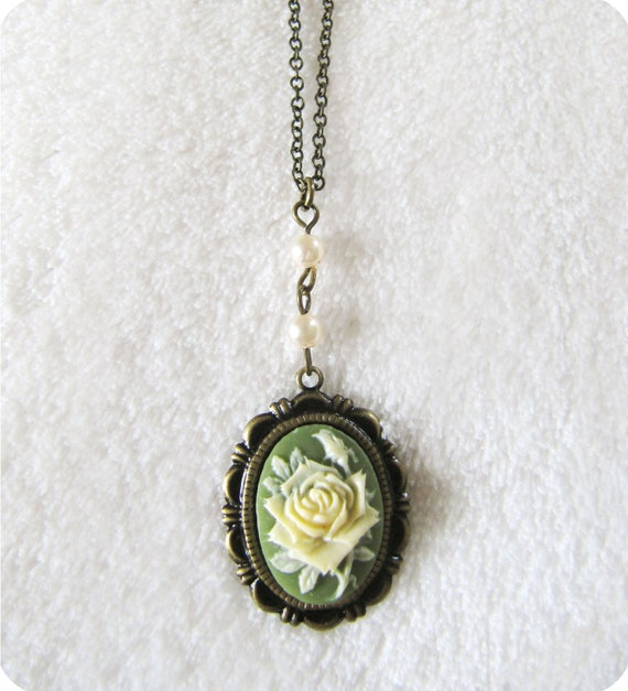 Green Rose Cameo Necklace