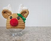 Girl Rudolph Reindeer Hat, Children Reindeer Hat, Rudolph Reindeer Hat, Christmas Reindeer Hat