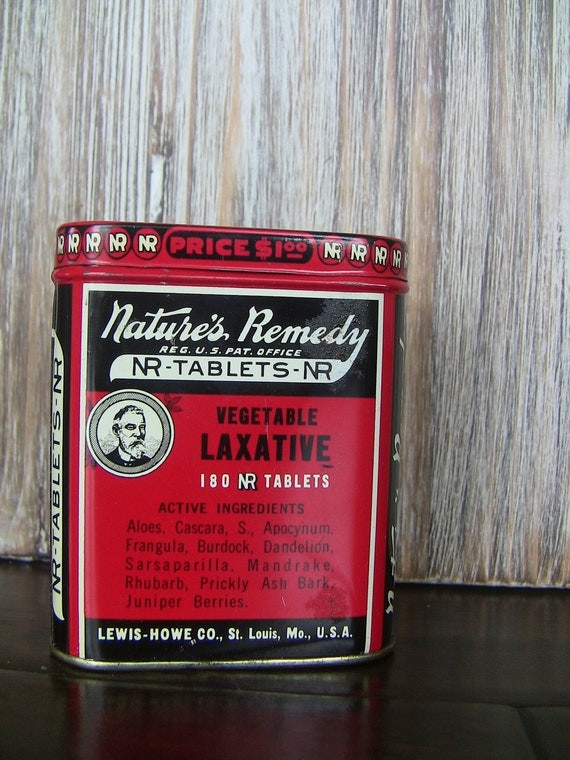 Antique Medicine Tin-Nature's Remedy Tin with Original Instructions and Tablets-Vintage Tin-Red Tin