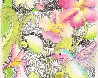Hummingbird in Dream Garden~Original Drawing Art