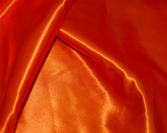 Orange satin Fabric by yard