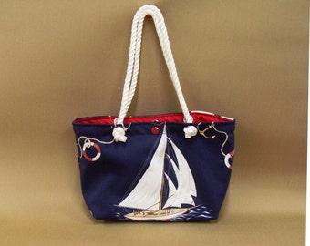 Rope Handled Sailboat Tote with Red Lining