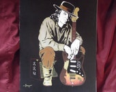"Stevie Ray Vaughan Holding his Guitar is a Limited Edition numbered Print by Artist Charles Freeman 10""x13"""
