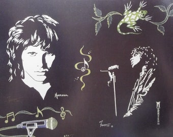"""Jim Morrison of the Doors in Art is a Limited Edition, numbered, 10""""x13"""" Print Of Original Art by Artist Charles Freeman"""