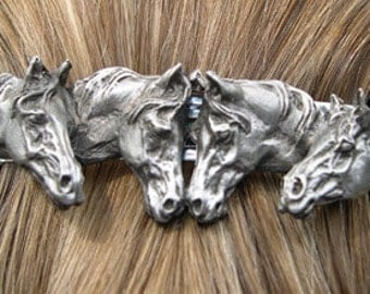 Four Horses barrette lead free pewter sculpture, French clip