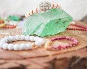 Orange white and vintage rhinestone beaded bauble Bangle bracelet