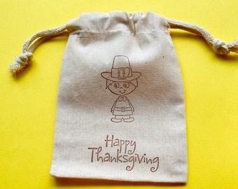 Pilgrim Muslin Bags / Set of 10 / Thanksgiving