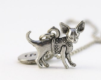 Chihuahua necklace, Chihuahua dog charm, initial necklace, initial hand stamped, personalized, antique silver, monogram