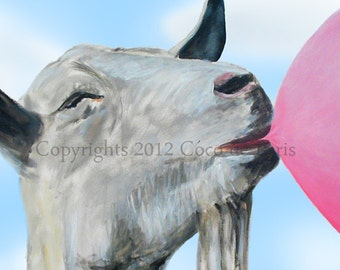 Print Illustration Art Poster Acrylic Painting Kids Decor Drawing Gift :  Chewing Gum Goat
