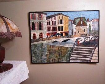 The Bridge - Art Quilt - Quilt - Cafe - River - Handmade - Original - Buildings - European - Scene - Wall Hanging