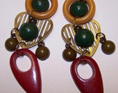 Vintage Yellow, Red, Green and Brown Resin Dangle Pierced Earrings with Gold Tone Metal Heart