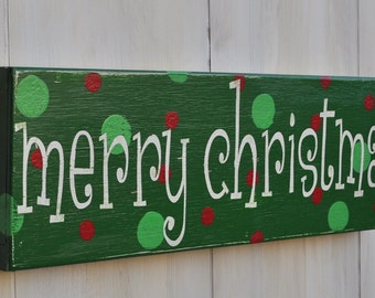 Christmas Sign, Custom Wood Sign, Christmas Decoration - Merry Christmas- Typography Word Art, Hand Painted Custom Wood Sign
