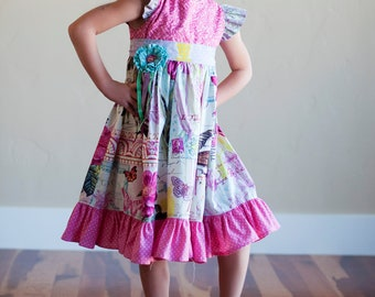 Buy 2 Get 1 Free...Instant Download PDF Sewing Pattern Tutorial Antique Fair Girl's Vintage Style Flutter Sleeve Dress, 6-12 m to 12