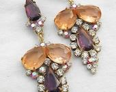 vintage pierced earrings czech rhinestones amethyst peach glass bohemian art deco style