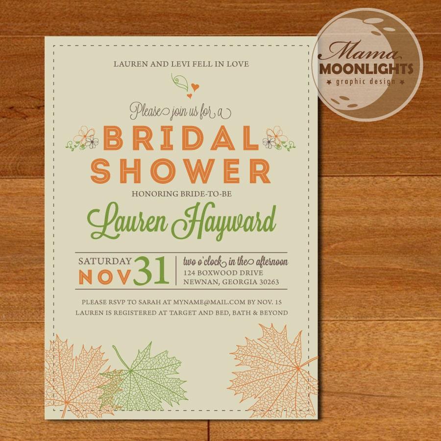 Autumn bridal shower wedding modern printable invitation for Bridal shower email invitations