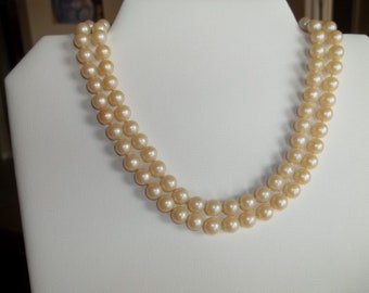 1960's Costume jewelry pearl necklace, double strand, lovely fastener