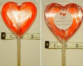 10 Hard Candy Extra Large Heart Shaped Lollipop Party Favors w/ Personalized Back Labels