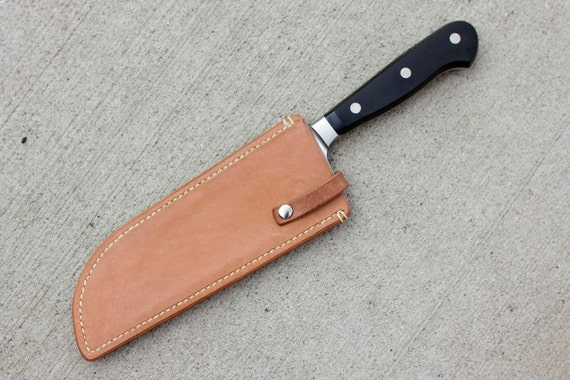 items similar to leather sheath for santoku chef 39 s knife on etsy. Black Bedroom Furniture Sets. Home Design Ideas