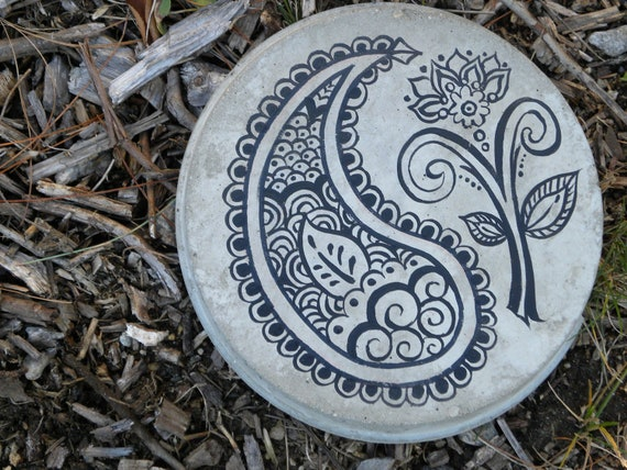 items similar to paisley henna garden stepping stone on etsy