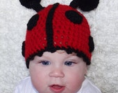 Adorable Baby Girl Infant Lady Bug Hat in Black and Red Crochet Beanie Hat For Baby Girl Ladybug Beanie Newborn Photo Props Crochet Hat