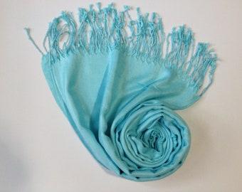 BABY BLUE PASHMINA, aqua blue shawl, pashmina shawl, pashmina scarf, scarf, shawl, scarves