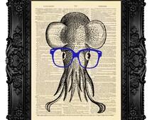 GEEKERY Art GEEK Art Humor Art Gift For Men Gift For Geek,  Squid Art Print Octopus Decor Wall Art Painting, Dictionary Art Print  no.198