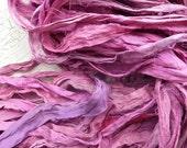 flamingo recycled silk sari ribbon