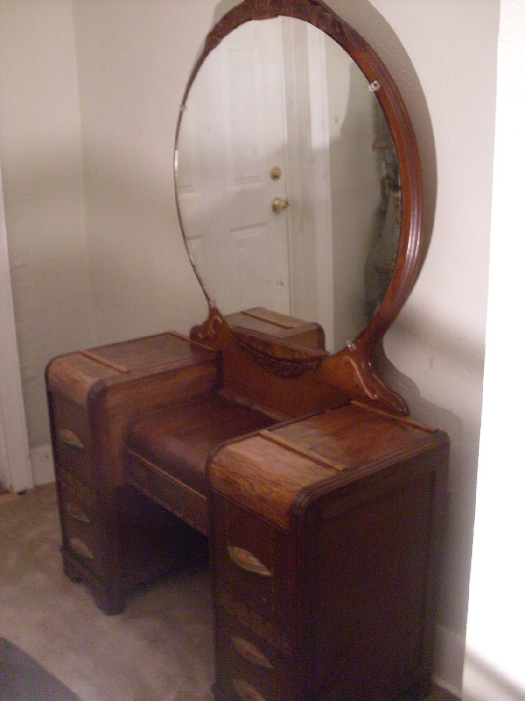 Art Deco Waterfall Vanity Dresser W Bakelite Handles