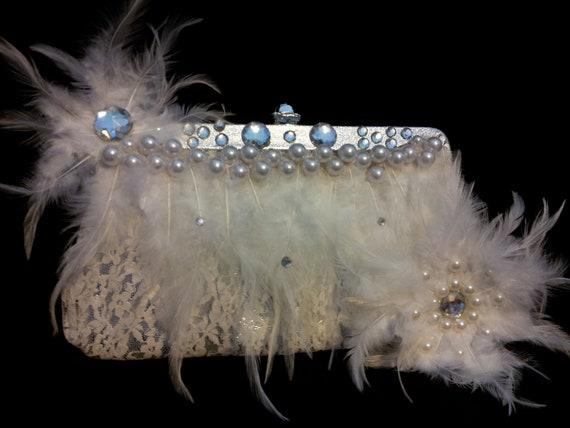 bridal clutch,wedding purse,handpurse with feathers