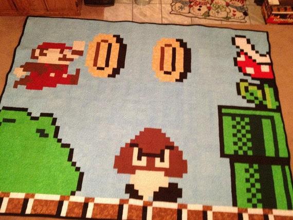 Handmade Pixelized Mario Quilt