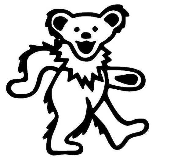 Dead Bear Drawing Grateful Dead Bear Vinyl Decal