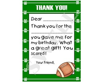 INSTANT DOWNLOAD Printable Football thank you note, Digital flat thank you note, Non- Personalized Fill-in-the-blank thank you note