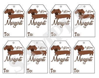 Printable Personalized Dachshund Dog gift tags, Dachshund weiner dog Personalized gift tags by Swell Printing