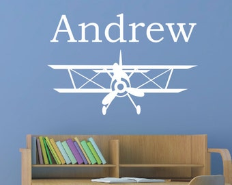 Biplane Vinyl Decal - Personalized Wall Decal - Monogrammed Vinyl Lettering - Boys Room Decor