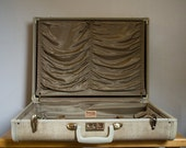Vintage Off White Cream Marbled Samsonite Luggage - Near Perfect Condition, Some scratches, Satin Interior, No Stains