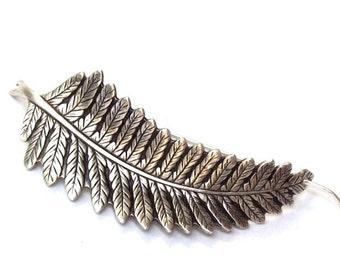 Silver Leaf Shawl Pin, Leaf Scarf Pin, Silver Shawl Pin,  Sweater Pin, silver hair slide, oxidized, fern leaf, fall fashion, silver filled