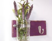 Cottage Chic Wall Flower Vase 1 Hook- Key Holder- Violet - Towel Hook- Country- French Chic- Shabby- Country Decor- Choose From Many Colors